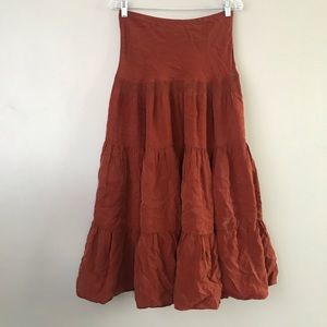 Cabi boho burnt orange Tiered maxi skirt